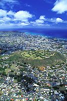 Aerial view of Punchbowl national cemetary near downtown Honolulu on the island of Oahu
