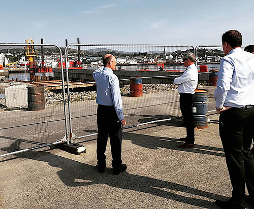 Marine Minister McConalogue and Dept officials inspected the Smooth Point Pier works during a tour of Killybegs fishing port