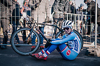 An emotional Jana Czeczinkarova (CZE) post-finish<br /> <br /> Women's U23 race<br /> <br /> UCI 2019 Cyclocross World Championships<br /> Bogense / Denmark<br /> <br /> ©kramon