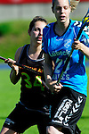 BERLIN, GERMANY - JUNE 21: Match of Team Germany (black) vs Team Switzerland (light blue) during the Berlin Open Lacrosse Tournament 2013 at Stadion Lichterfelde on June 21, 2013 in Berlin, Germany. Final score 20-0. (Photo by Dirk Markgraf/www.265-images.com) *** Local caption *** <br /> #34 Isabelle Sophie Noack of Germany