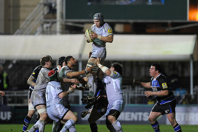 Graham Kitchener of Leicester Tigers wins the lineout during the LV= Cup semi final match between Bath Rugby and Leicester Tigers at The Recreation Ground, Bath (Photo by Rob Munro, Fotosports International)