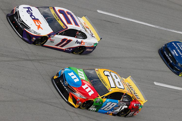 #18: Kyle Busch, Joe Gibbs Racing, Toyota Camry M&M's, #11: Denny Hamlin, Joe Gibbs Racing, Toyota Camry FedEx Express