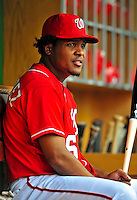 24 May 2009: Washington Nationals' second baseman Anderson Hernandez sits in the dugout prior to a game against the Baltimore Orioles at Nationals Park in Washington, DC. The Nationals rallied to defeat the Orioles 8-5 and salvage one win of their interleague series. Mandatory Credit: Ed Wolfstein Photo