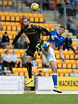 St Johnstone v Motherwell…08.08.21  McDiarmid Park<br />Kevin van Veen is tackled by Liam Gordon<br />Picture by Graeme Hart.<br />Copyright Perthshire Picture Agency<br />Tel: 01738 623350  Mobile: 07990 594431