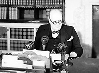 Winston Churchill at a BBC microphone about to broadcast to the nation on the afternoon of VE Day, 8 May 1945. The Prime Minister Winston Churchill at a BBC microphone about to broadcast to the nation on the afternoon of VE Day.