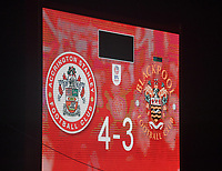 Thew final score in the penalty shoot out<br /> <br /> Photographer Dave Howarth/CameraSport<br /> <br /> EFL Trophy Northern Section Group G - Accrington Stanley v Blackpool - Tuesday 6th October 2020 - Crown Ground - Accrington<br />  <br /> World Copyright © 2020 CameraSport. All rights reserved. 43 Linden Ave. Countesthorpe. Leicester. England. LE8 5PG - Tel: +44 (0) 116 277 4147 - admin@camerasport.com - www.camerasport.com