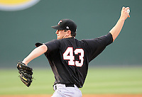 Kannapolis Intimidators pitcher Paul Burnside (43) pitches during a game against the Greenville Drive on Spartanburg Night, Wednesday, May 25, 2011, at Fluor Field at the West End in Greenville, S.C. Photo by Tom Priddy / Four Seam Images