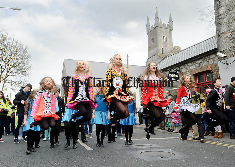 The Fleadh 2016 dancers step it out during the St Patrick's Day parade in Ennis. Photograph by John Kelly.