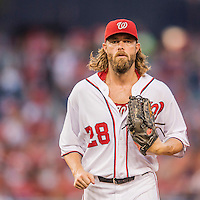 25 August 2016: Washington Nationals outfielder Jayson Werth trots back to the dugout during a game against the Baltimore Orioles at Nationals Park in Washington, DC. The Nationals blanked the Orioles 4-0 to salvage one game of their 4-game home and away series. Mandatory Credit: Ed Wolfstein Photo *** RAW (NEF) Image File Available ***
