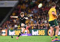 7th November 2020, Brisbane, Australia; Tri Nations International rugby union, Australia versus New Zealand;  Jordie Barrett of the All Blacks kicks a penalty