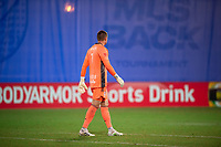 LAKE BUENA VISTA, FL - JULY 16: David Jensen #1 of the New York Red Bulls waits on the ball during a game between New York Red Bulls and Columbus Crew at Wide World of Sports on July 16, 2020 in Lake Buena Vista, Florida.