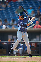 West Michigan Whitecaps first baseman Reynaldo Rivera (14) at bat during a game against the Quad Cities River Bandits on July 23, 2018 at Modern Woodmen Park in Davenport, Iowa.  Quad Cities defeated West Michigan 7-4.  (Mike Janes/Four Seam Images)