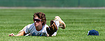 WATERBURY, CT 072821JS10 Michigan Bulls' AJ Hammerle (17) makes a diving catch during their game against the  CT Gamecocks Michigan Bulls in the opening round of the Mickey Mantle World Series at Municipal Stadium in Waterbury. <br /> Jim Shannon Republican American