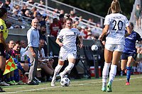 CARY, NC - SEPTEMBER 12: Natalia Kuikka #14 of the Portland Thorns FC plays the ball during a game between Portland Thorns FC and North Carolina Courage at Sahlen's Stadium at WakeMed Soccer Park on September 12, 2021 in Cary, North Carolina.