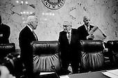 Washington DC, District of Columbia<br /> USA<br /> January 31, 2007<br /> <br /> Democratic Senator Joe Biden (R) and Henry Kissinger center at Senate hearing concerning the war in Iraq.