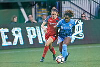 Portland, OR - Saturday June 17, 2017: Ashleigh Sykes, Kayla Mills during a regular season National Women's Soccer League (NWSL) match between the Portland Thorns FC and Sky Blue FC at Providence Park.