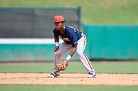 Atlanta Braves Darling Florentino (18) during a Florida Instructional League game against the Canadian Junior National Team on October 9, 2018 at the ESPN Wide World of Sports Complex in Orlando, Florida.  (Mike Janes/Four Seam Images)