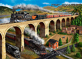 Marcello, LANDSCAPES, LANDSCHAFTEN, PAISAJES, paintings+++++,ITMCEDC1124,#l#, EVERYDAY,steam train,bridge