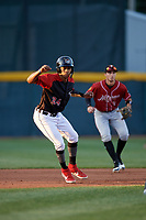 Erie SeaWolves Jose Azocar (24) leads off second base in front of shortstop Brett Pope (3) during an Eastern League game against the Altoona Curve on June 3, 2019 at UPMC Park in Erie, Pennsylvania.  Altoona defeated Erie 9-8.  (Mike Janes/Four Seam Images)