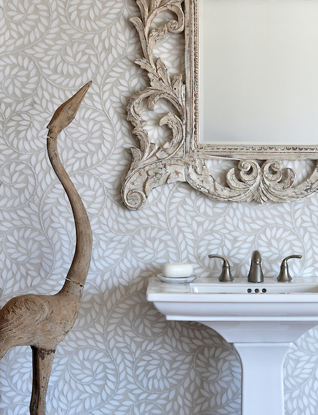 Jacqueline Vine, a handmade mosaic shown in tumbled Thassos, is part of the Silk Road® collection by New Ravenna.