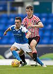 St Johnstone v Sunderland…15.07.17… McDiarmid Park… Pre-Season Friendly<br />Stefan Scougall holds off Donald Love<br />Picture by Graeme Hart.<br />Copyright Perthshire Picture Agency<br />Tel: 01738 623350  Mobile: 07990 594431