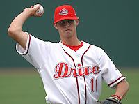 06 May 2006: Starting pitcher Clay Buchholz (11) of the Greenville Drive, the Boston Red Sox affiliate of the Class A South Atlantic League, in a game against the Rome Braves. (Tom Priddy/Four Seam Images)