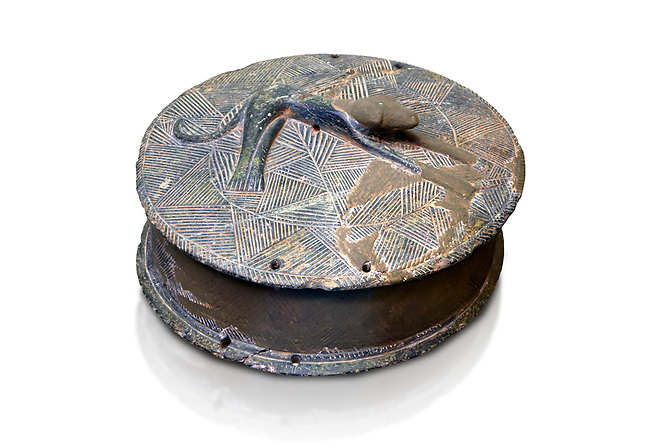 Early Minoan round metal jewel box with a dog in relief on lid,  George of the Dead 2600-2300 BC BC, Heraklion Archaeological  Museum, white background .