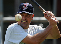Hitting coach Jeff Reed (1) of the Elizabethton Twins in a game against the Danville Braves on July 16, 2010, at Joe O'Brien Field in Elizabethton, Tenn. Photo by: Tom Priddy/Four Seam Images