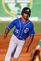 Biloxi Shuckers outfielder Troy Stokes, Jr. (15) rounds third base during a Southern League game against the Jackson Generals on July 27, 2018 at The Ballpark at Jackson in Jackson, Tennessee. Biloxi defeated Jackson 15-7. (Brad Krause/Four Seam Images)