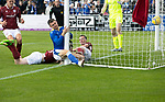 Arbroath v St Johnstone…15.08.21  Gayfield Park      Premier Sports Cup<br />Glenn Middleton collides with the post after scoring<br />Picture by Graeme Hart.<br />Copyright Perthshire Picture Agency<br />Tel: 01738 623350  Mobile: 07990 594431