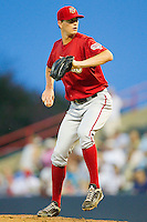 Starting pitcher Jimmy Barthmaier #22 of the Harrisburg Senators in action against the Richmond Flying Squirrels in game two of a double-header at The Diamond on July 22, 2011 in Richmond, Virginia.  The Senators defeated the Flying Squirrels 1-0.   (Brian Westerholt / Four Seam Images)