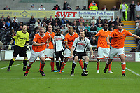 ATTENTION SPORTS PICTURE DESK<br /> Pictured: Craig Beattie of Swansea (3rd R) and Keith Southern of Blackpool (2nd L) wait for the ball from a corner kick with their teammates in the Blackpool box.<br /> Re: Coca Cola Championship, Swansea City Football Club v Blackpool at the Liberty Stadium, Swansea, south Wales. Saturday 24 October 2009