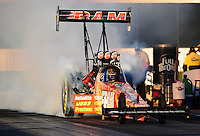 Nov 11, 2010; Pomona, CA, USA; NHRA top fuel dragster driver Cory McClenathan during qualifying for the Auto Club Finals at Auto Club Raceway at Pomona. Mandatory Credit: Mark J. Rebilas-
