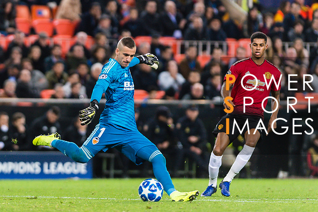 Goalkeeper Jaume Domenech of Valencia CF (L) in action during the UEFA Champions League 2018-19 match between Valencia CF and Manchester United at Estadio de Mestalla on December 12 2018 in Valencia, Spain. Photo by Maria Jose Segovia Carmona / Power Sport Images