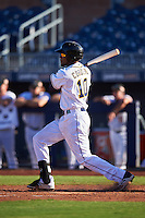 Peoria Javelinas Franchy Cordero (10), of the San Diego Padres organization, during a game against the Surprise Saguaros on October 12, 2016 at Peoria Stadium in Peoria, Arizona.  The game ended in a 7-7 tie after eleven innings.  (Mike Janes/Four Seam Images)
