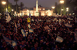 """A Christian demonstration to """"save Argentina"""" takes place in Plaza de Mayo, traditionally for many years all political demonstration take place here in front of the Casa Rosada the Presidential palace.2000s 2002"""