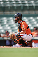Baltimore Orioles catcher Matthew Beaird (61) during a Florida Instructional League game against the Philadelphia Phillies on October 4, 2018 at Ed Smith Stadium in Sarasota, Florida.  (Mike Janes/Four Seam Images)