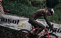 crashing on the slippery descent<br /> <br /> U23 Men's race<br /> Superprestige Gavere / Belgium 2017