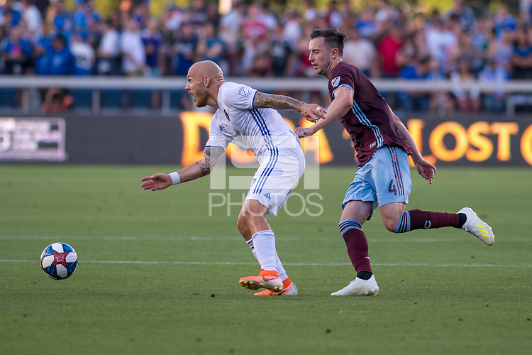 SAN JOSÉ CA - JULY 27:  Magnus Eriksson #7 and Danny Wilson #4 during a Major League Soccer (MLS) match between the San Jose Earthquakes and the Colorado Rapids on July 27, 2019 at Avaya Stadium in San José, California.