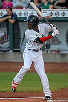 Cedar Rapids Kernels shortstop Nick Gordon (5) at bat during game five of the Midwest League Championship Series against the West Michigan Whitecaps on September 21st, 2015 at Perfect Game Field at Veterans Memorial Stadium in Cedar Rapids, Iowa.  West Michigan defeated Cedar Rapids 3-2 to win the Midwest League Championship. (Brad Krause/Four Seam Images)