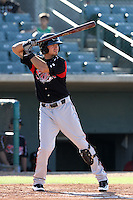 Michael Wing #3 of the Lake Elsinore Storm bats against the Lancaster JetHawks at Clear Channel Stadium on May 11, 2012 in Lancaster,California. (Larry Goren/Four Seam Images)