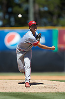 Greeneville Reds relief pitcher Josh Rich (46) delivers a pitch to the plate against the Burlington Royals at Burlington Athletic Stadium on July 8, 2018 in Burlington, North Carolina. The Royals defeated the Reds 4-2.  (Brian Westerholt/Four Seam Images)