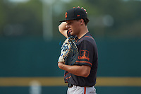 First baseman Jaime Ferrer (22) of TNXL Academy in Saint Cloud, FL playing for the San Francisco Giants scout team during the East Coast Pro Showcase at the Hoover Met Complex on August 2, 2020 in Hoover, AL. (Brian Westerholt/Four Seam Images)