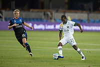 SAN JOSE, CA - SEPTEMBER 19: Diego Chara #21 of the Portland Timbers keeps the ball away from Jackson Yueill #14 of the San Jose Earthquakes during a game between Portland Timbers and San Jose Earthquakes at Earthquakes Stadium on September 19, 2020 in San Jose, California.