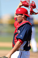Washington Nationals catcher Adrien Nieto #12 during an Instructional League game against the national team from Italy at Carl Barger Training Complex on September 28, 2011 in Viera, Florida.  (Mike Janes/Four Seam Images)