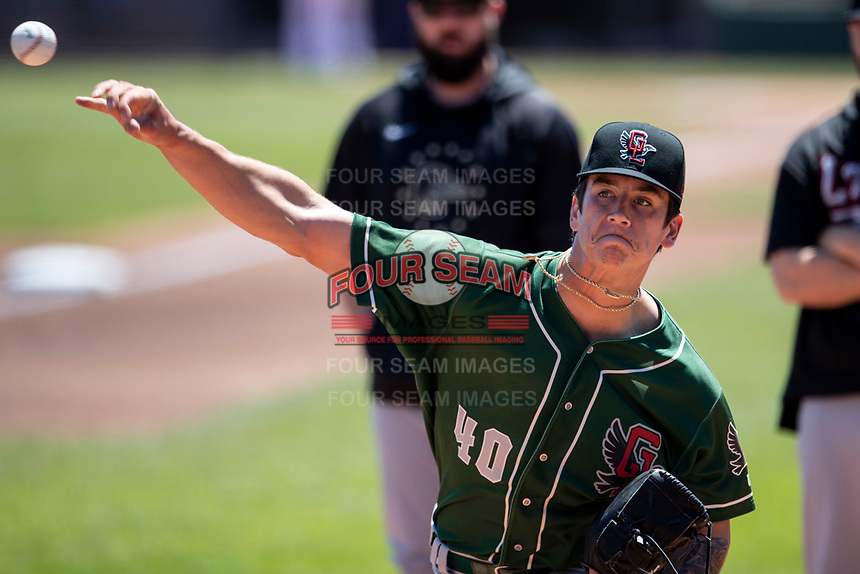 Great Lakes Loons pitcher Bobby Miller (40) warms up prior to the game on on May 30, 2021 against the Lansing Lugnuts at Jackson Field in Lansing, Michigan. (Andrew Woolley/Four Seam Images)