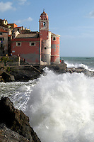 - the small ancient village of Tellaro during a sea storm....- il piccolo paese antico di Tellaro durante una mareggiata