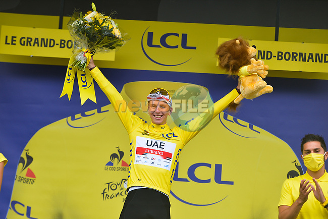 Tadej Pogacar (SLO) UAE Team Emirates takes over the race leaders Yellow Jersey at the end of Stage 8 of the 2021 Tour de France, running 150.8km from Oyonnax to Le Grand-Bornand, France. 3rd July 2021.  <br /> Picture: A.S.O./Charly Lopez   Cyclefile<br /> <br /> All photos usage must carry mandatory copyright credit (© Cyclefile   A.S.O./Charly Lopez)
