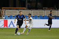 SAN JOSE, CA - SEPTEMBER 5: Jackson Yueill #14 of the San Jose Earthquakes is defended by Jonathan Lewis #7 of the Colorado Rapids during a game between Colorado Rapids and San Jose Earthquakes at Earthquakes Stadium on September 5, 2020 in San Jose, California.