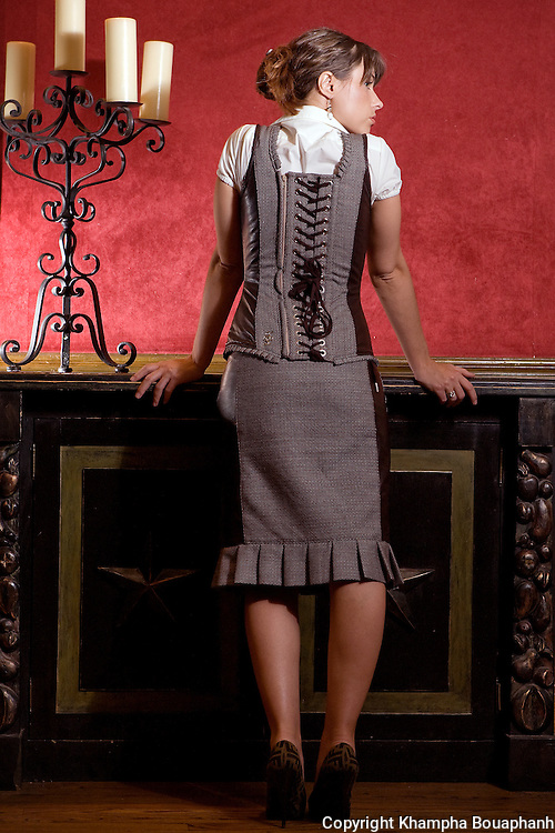 Taylor Lane models a line of corsets in Fort Worth for Taylor Lane Designs on July 20, 2010, 2010.  (photo by Khampha Bouaphanh)